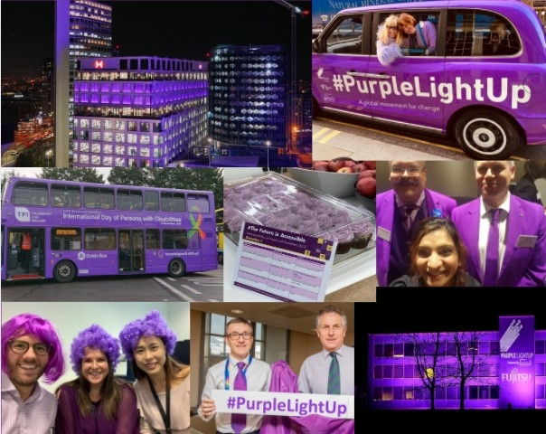 Collage of buildings turning Purple and people celebrating #PurpleLightUp
